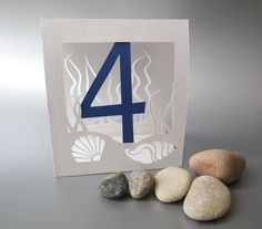 Table Numbers Sea Shells Theme Papercut by MamaTita on Etsy