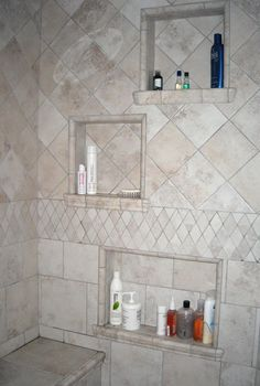 Steam Shower Built In Shelves--I'm going to have Bobby do this with our master bath renovation