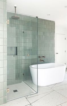 Mandy Moore's Mid-Century Modern Manse (Habitually Chic) Mandy Moore's Mid-Century Modern Manse // grey green bathroom tile // stacked subway tile - Add Modern To Your Life Mid Century Modern Bathroom, Modern Bathroom Design, Bathroom Interior Design, Modern House Design, Modern Interior Design, Interior Decorating, Restroom Design, Bad Inspiration, Bathroom Inspiration
