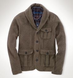 Polo Ralph Lauren Shawl-Collar Cardigan, This hardy hunting-inspired  cardigan features multiple utility pockets and makes a handsome layering  piece in ...