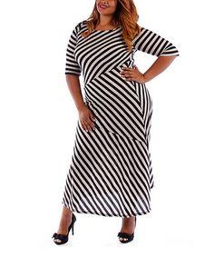 Look what I found on #zulily! Black & White Stripe Maxi Dress - Plus #zulilyfinds