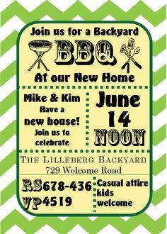 green chevron bbq - Housewarming and Open House Invitations