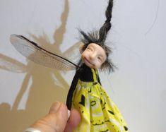 ooak poseable shadow PIXIE fairy 7 polymer clay by DinkyDarlings