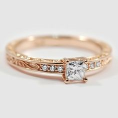 14K Rose Gold Delicate Antique Scroll Ring - Set with 0.31 Carat, Princess cut