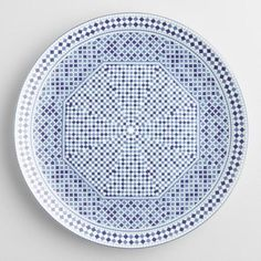 Inspired by traditional Moroccan tiles, an elaborate geometric design style similar to a mosaic, our blue and white dinner plates bring sunbaked, Mediterranean flair to your table. Moroccan Plates, Moroccan Tiles, Morrocan Decor, White Dinner Plates, Dinner Plate Sets, Ceramic Plates, Decorative Plates, Pottery Plates, Blue Dinnerware