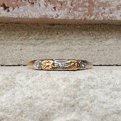 Vintage Diamond Wedding Band Ring in Rose Gold White Gold Vintage Diamond Wedding Bands, Wedding Ring Bands, Antique Jewelry, Vintage Jewelry, Gold Art, Wedding Sets, Band Rings, Art Deco, White Gold