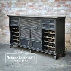 New wine cabinet design added to our lineup, a little more refined… modern… industrial. Stands a little over 4ft high with casters and all handmade in my little shop in Houston, TX. USA #modernindustrialfurniture