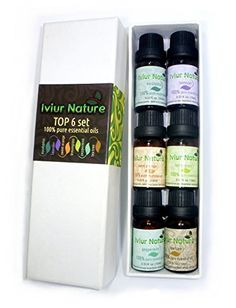 Iviur Nature Aromatherapy Oils Set - 100% Pure Oils 6/10ml (Eucalyptus, Lavender, Sweet Orange, Lemongrass, Peppermint, Tea Tree)
