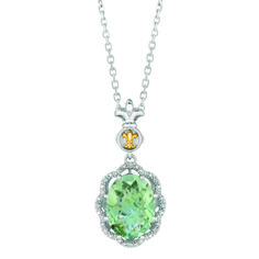 """Phillip Gavriel  .04ct  Diamonds Green Amethyst Rock 18k Gold and Sterling Silver  18"""" Chain ITEM# SILP6047 $129.99 WAS    ($257.00)"""