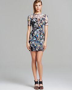 Black Halo Dress - Weston Mini Rainbow Lace Illusion Neckline   Bloomingdale's