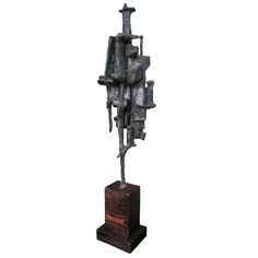 1970's American Brutalist Style Bronze Tower Sculpture at 1stdibs