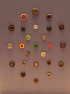 Assorted designer buttons for clothing.