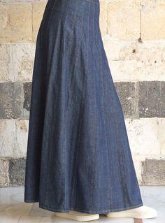 SHUKR USA | Denim Multi-Paneled Flare Skirt