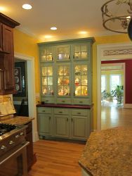 We designed and built this custom oak breakfront/hutch as part of a larger kitchen remodel. Kitchen Hutch, Kitchen Redo, Kitchen Furniture, New Kitchen, Kitchen Storage, Kitchen Remodel, Furniture Design, Kitchen Pantry, Furniture Removal