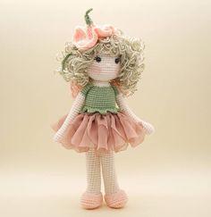Amigurumi crochet DOLL Gorgeous Sweet Pea flower fairy with
