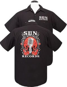 9b4cdd88267f Sun Records- Good Ol Rockabilly Microphone & Red Guitars short sleeve Work  Shirt by Steady