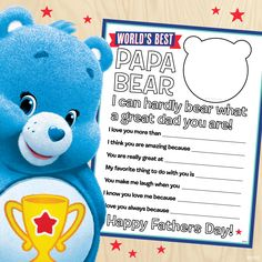 Care Bears Free Father's Day Printable!