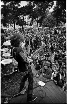 Jimi Hendrix performing at a free concert in the Panhandle, 1967.