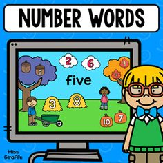 Number words 1-10 digital math game! So fun! Number Sense Activities, Graphing Activities, Kindergarten Math Worksheets, Preschool Math, Fun Math, Math Pages, Number Words, Learning Numbers, First Grade Math