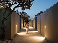 beautiful landscape architecture at night / outdoor corridor