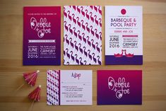 Lauren Baker Print & Design | Wedding Stationery | Pink Pool Flamingo Wedding Invitation | Pink Purple Gradient