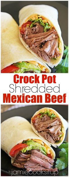 Crock Pot Shredded Mexican Beef from Jamie Cooks It Up! Use it to make tacos, enchiladas, burritos or a great big salad!