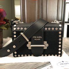 0354a9ad3fa4 discount price Prada Cahier New Small Calf Hair Shoulder Black Leather  Cross Body Bag WSxOyUT9 Smaller