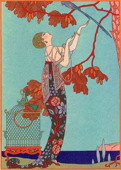 L'Oiseau Volage by Georges Barbier, 1914. A French Art Deco illustrator, he primarily illustrated books, however he also designed fabrics, wallpaper, posters and postcards. His illustrations were frequently reproduced by the pochoir (stencil) method. His finest book illustrations were those interpreted in woodcuts by F.L. Schmied