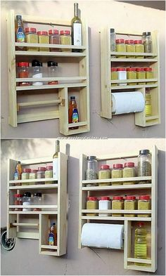 Square in shape, elegant in designing and much purposeful in the utilization, yes we are talking about this excellent spice rack design of wood pallet. This rack set is embellished with the coverage of the roll paper holder that make it look aspiring.