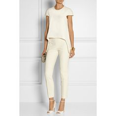 Alexander McQueen Asymmetric crepe top, White, Women's, Size: 46 (590 CAD) ❤ liked on Polyvore featuring tops, outfits, white drape top, loose tops, drape top, loose fitting tops and asymmetric tops