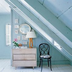 Serene blue walls (and check out that lamp!)