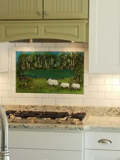 "Backsplash Designer fused glass ""basket of hydrangeas"" for kitchen backsplash"