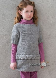 ladyknits.ru Baby Clothes Patterns, Baby Knitting Patterns, Knitting Stitches, Clothing Patterns, Crochet Baby Dress Pattern, Knit Baby Dress, Baby Cardigan, Knitting For Kids, Crochet For Kids