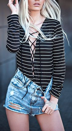 $15.99 Striped Plunging Neck Long Sleeve Lace Up Bodysuit