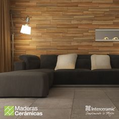 Recubrir las #paredes con #madera #cerámica para aumentar la amplitud del espacio y su ambiente hogareño. Línea Trio Legno y Trio Cement de #Interceramic, color Caramel esmaltado.