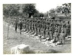 The 1st battalion of the 4th Ghurkha Rifles lined up for kit inspection. | The Most Powerful Images Of World War I