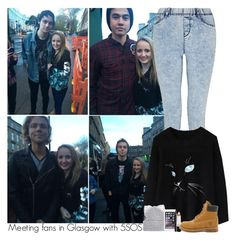 """Meeting fans in Glasgow with 5SOS"" by sixsensestyles ❤ liked on Polyvore featuring Chicwish, Silver Spoon Attire, Marc, Revlon and Timberland"