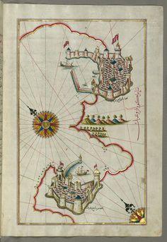 Illuminated Manuscript, Map of the coastline from Muggia (Milje, Mūye) to Trieste (Rishtī) (Italy) from Book on Navigation, Walters Art Museum Ms. W.658, fol.181b | by Walters Art Museum Illuminated Manuscripts