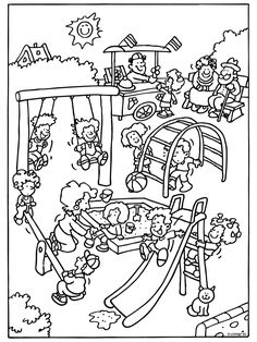Kleurplaat Spelen in de speeltuin - Kleurplaten.nl Colouring Pages, Coloring Sheets, Coloring Books, Story Sequencing Pictures, Fruit Crafts, Cartoon Boy, Mothers Day Crafts, Drawing For Kids, Printable Coloring