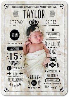 Grand Arrival - Girl Photo Birth Announcements in Black | Tallu-lah