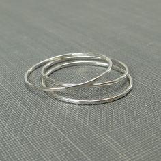 Thin Sterling Silver Stackable Rings - Set of 3 Rings - Super Slim - Argentium Sterling Silver - Simple Modern Minimal Rings