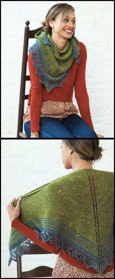 Quaking Shawl knit in Acadia, a remarkable merino wool/baby alpaca/silk yarn.