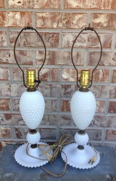 Pair of Vintage Hobnail Milk Glass Lamps - White - Functioning / Working - Screw Top Lamp Shade    on Etsy, $24.95