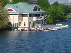 Boston University DeWolfe Boathouse on the banks of the Charles River
