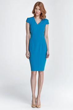 Robe bleu moulante manches courtes femme col V NIFE S85 36 38 40 42 44
