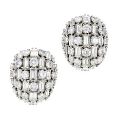 1940s Retro Round and Baguette-Cut Diamond Dome Earrings