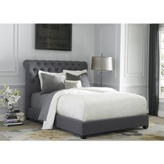 Liberty Dark Gray Linen Chesterfield Sleigh Upholstered Bed Set ($1,125) ❤ liked on Polyvore featuring home, furniture, beds, grey, king tufted headboard, queen headboard, platform bed, queen upholstered headboard and king headboard