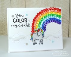 Lawn Fawn Critters Ever After Lawnscaping Challenge: You Color My World Rainbow Card