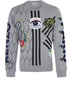 Kenzo Grey Multi Print Cotton Sweatshirt   Menswear
