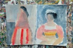 Sketchbook - acrylics and gouache #sketchbook #abstractedfigures by cathycullis